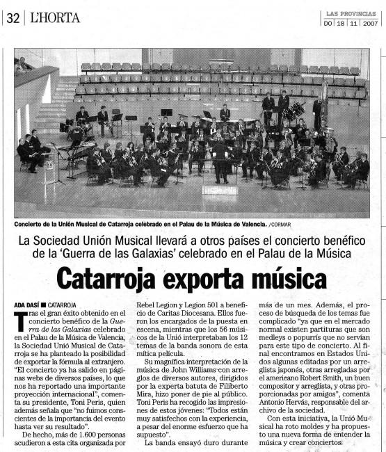 Catarroja exporta música- Concierto Benéfico Star Wars